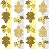 Seamless cartoon childish pattern in a patchwork style with leav Royalty Free Stock Images