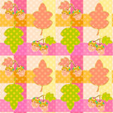 Seamless cartoon childish pattern in a patchwork style with leav Stock Images