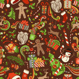 Seamless Cartoon Christmas Pattern. Vector Christmas tree and baubles, Santa sock, hat, beard, mistletoe, holly berry and other Christmas objects. Boundless Stock Photo