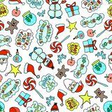Seamless Cartoon Christmas Pattern On The White Background With Cute Characters. And Phrases Royalty Free Stock Image