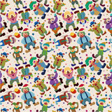 Seamless cartoon circus clown pattern royalty free illustration