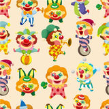 Seamless cartoon circus clown pattern. Drawing Stock Image