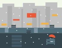 Seamless Cartoon City Landscape, Vector Illustration Stock Photo