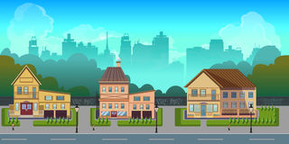 Seamless cartoon city landscape, vector unending background with road, buildings and sky layers.  Stock Photography