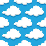 Seamless cartoon cloudscape pattern on cyan Royalty Free Stock Photography