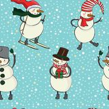 Seamless cartoon color pattern with winter snowman in hat, scarf, felt boots, ski and snowflakes Stock Photo