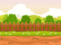 Seamless cartoon country landscape. Endless village background, separated layers for parallax effect