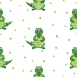 Seamless cartoon crocodiles pattern. Stock Photography