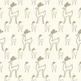 Seamless cartoon deer background Stock Images