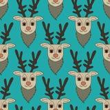 Seamless cartoon deer pattern vector illustration