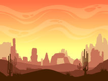 Seamless cartoon desert landscape vector illustration