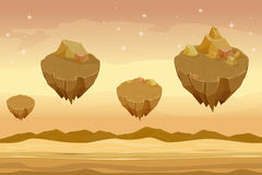 Seamless cartoon desert landscape, sandy with mountains on background Royalty Free Stock Photo