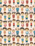Seamless cartoon family pattern Royalty Free Stock Images