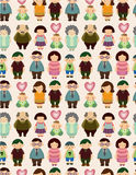 Seamless cartoon family pattern. Drawing Royalty Free Stock Photos