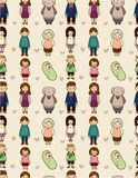 Seamless cartoon family pattern. Drawing Stock Images