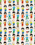 Seamless cartoon family pattern Stock Photo