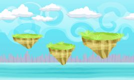 Seamless cartoon fantasy landscape with flying ground islands Stock Photos