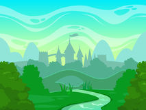 Seamless cartoon fantasy morning landscape Stock Photography