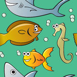 Seamless Cartoon Fish Pattern Royalty Free Stock Image