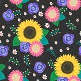 Seamless cartoon flowers pattern background Royalty Free Stock Photos
