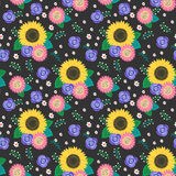 Seamless cartoon flowers pattern background Royalty Free Stock Images