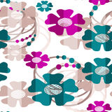 Seamless cartoon flowers pattern background Stock Images