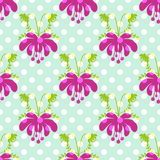 Seamless cartoon flowers pattern polka dot background Stock Images