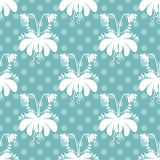 Seamless cartoon flowers pattern polka dot background Stock Photo