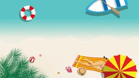 Seamless cartoon footage of girl in bikini sunbathing on the beach with beach umbrella and beach fashion accessory. At tropical country in summer season. summer stock illustration