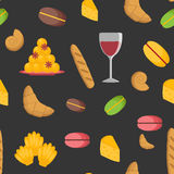Seamless cartoon french food background Stock Images