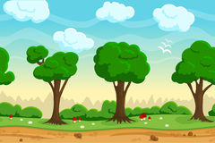 Seamless cartoon game landscape Stock Images