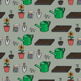 Seamless Cartoon Gardening Background Stock Photos