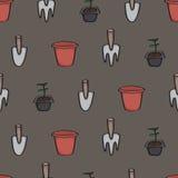 Seamless Cartoon Gardening Background Royalty Free Stock Photography