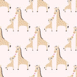 Seamless cartoon giraffe pattern Stock Photo