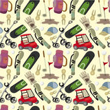 Seamless cartoon golf game pattern. Vector drawing Stock Image