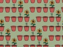 Seamless Cartoon Growing Flower Background Royalty Free Stock Photos