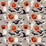 Seamless cartoon Halloween pattern. Halloween ghosts, bats and pumpkin boo characters. Stock Photo