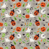 Seamless cartoon Halloween pattern. Halloween ghosts, spiders network and pumpkin boo characters. Royalty Free Stock Image