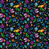 Seamless cartoon hand-drawn pattern with flowers and bird. Stock Photo