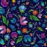 Seamless cartoon hand-drawn pattern with flowers Stock Photos