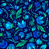 Seamless cartoon hand-drawn pattern with flowers Royalty Free Stock Image