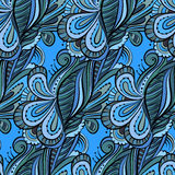 Seamless cartoon hand-drawn pattern with flowers. Endless floral Royalty Free Stock Photo