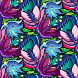 Seamless cartoon hand-drawn pattern with flowers Royalty Free Stock Photography