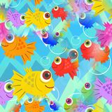 Seamless Cartoon Happy Fish Design. A seamless cartoon underwater scene with colorful happy fish Royalty Free Stock Photography