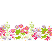 Seamless cartoon horizontal flowers pattern background Stock Images