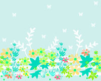 Seamless cartoon horizontal flowers pattern background Royalty Free Stock Photos