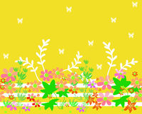Seamless cartoon horizontal flowers pattern background Stock Image