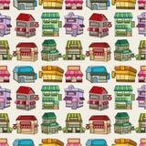 Seamless cartoon house/shop pattern Royalty Free Stock Photo