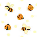 Seamless cartoon insects pattern Royalty Free Stock Image