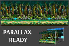 Seamless cartoon jungle landscape, vector unending background with separated layers. Stock Photos
